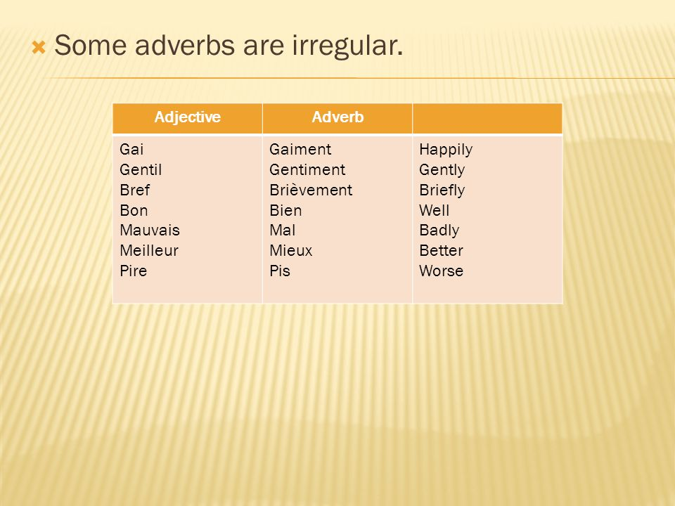 Some adverbs are irregular.