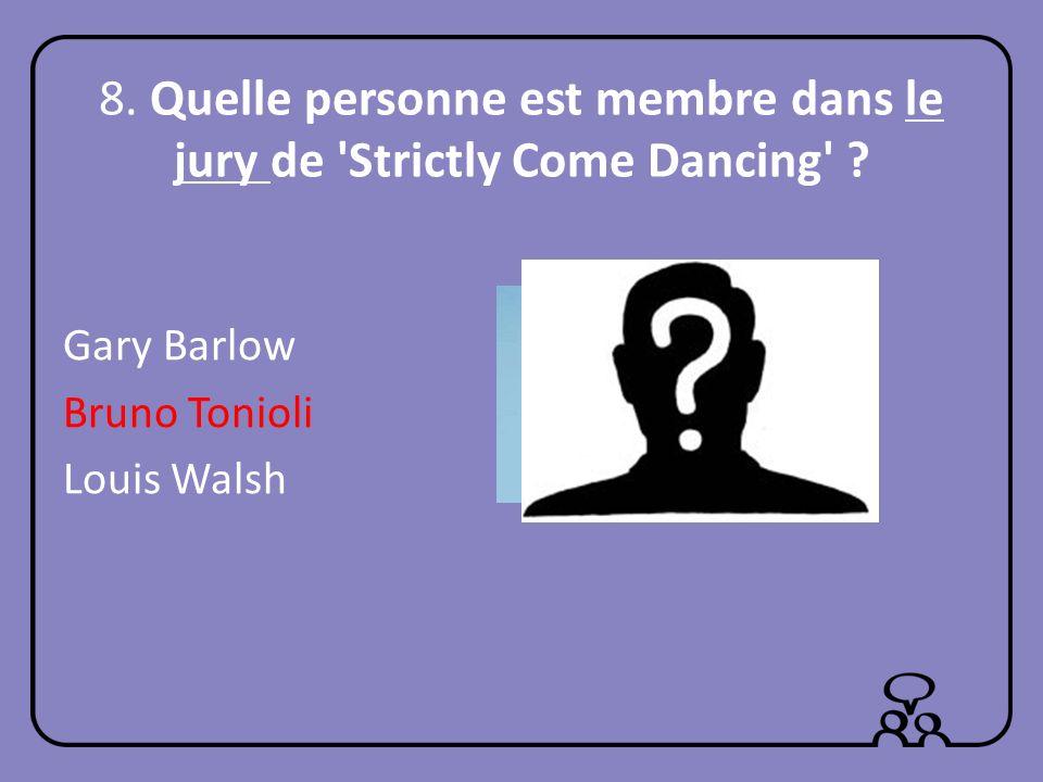 8. Quelle personne est membre dans le jury de Strictly Come Dancing