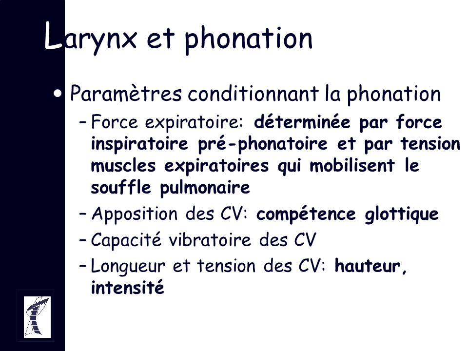Larynx et phonation Paramètres conditionnant la phonation