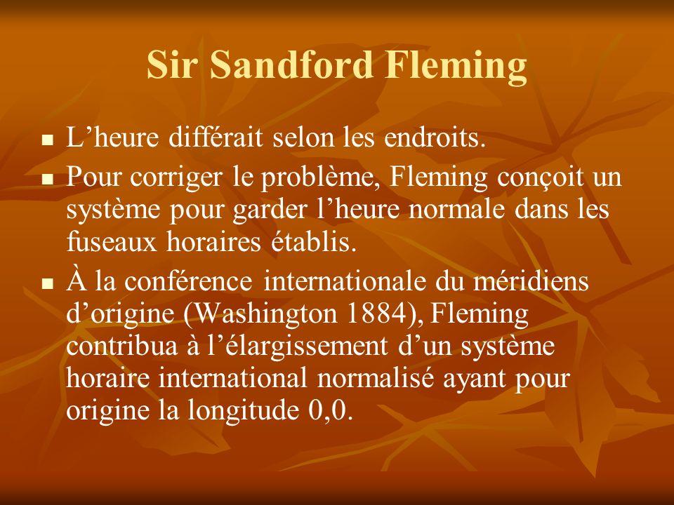 Sir Sandford Fleming L'heure différait selon les endroits.