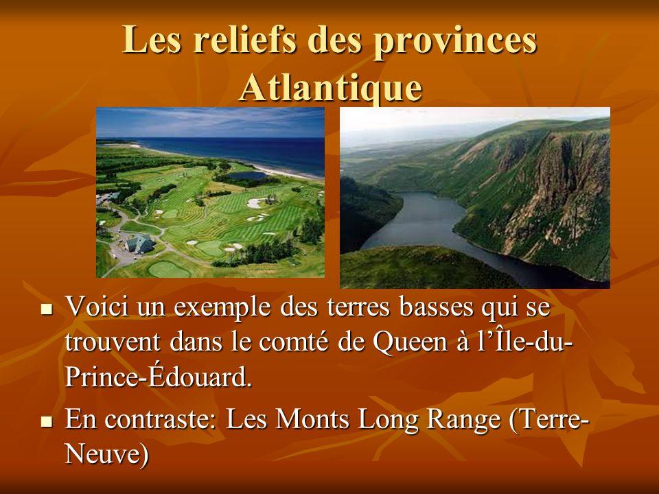 Les reliefs des provinces Atlantique
