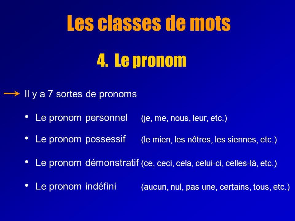 Les classes de mots 4. Le pronom Il y a 7 sortes de pronoms