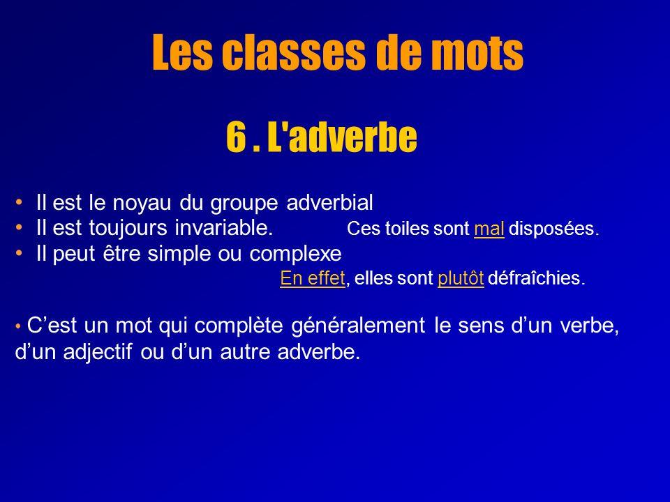 Les classes de mots 6 . L adverbe Il est le noyau du groupe adverbial