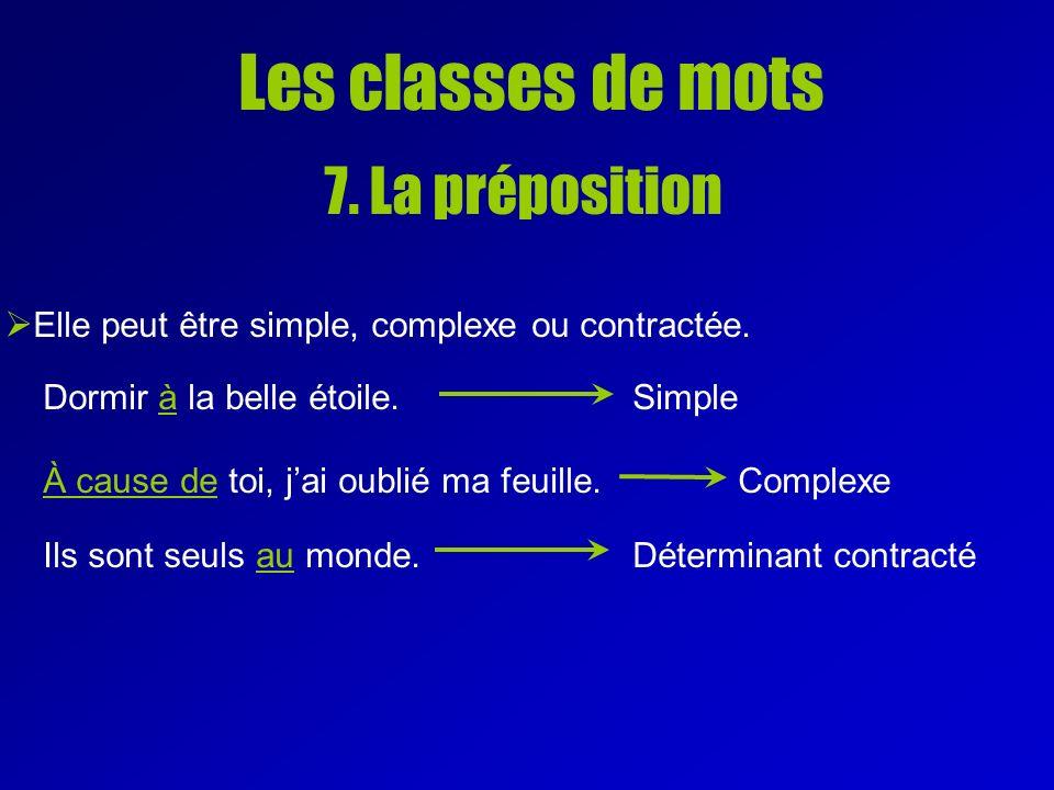 Les classes de mots 7. La préposition