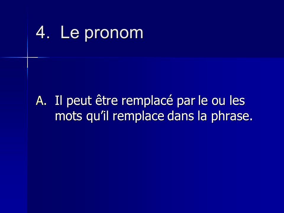 4. Le pronom Il peut être remplacé par le ou les mots qu'il remplace dans la phrase.