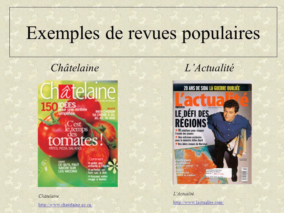 Exemples de revues populaires