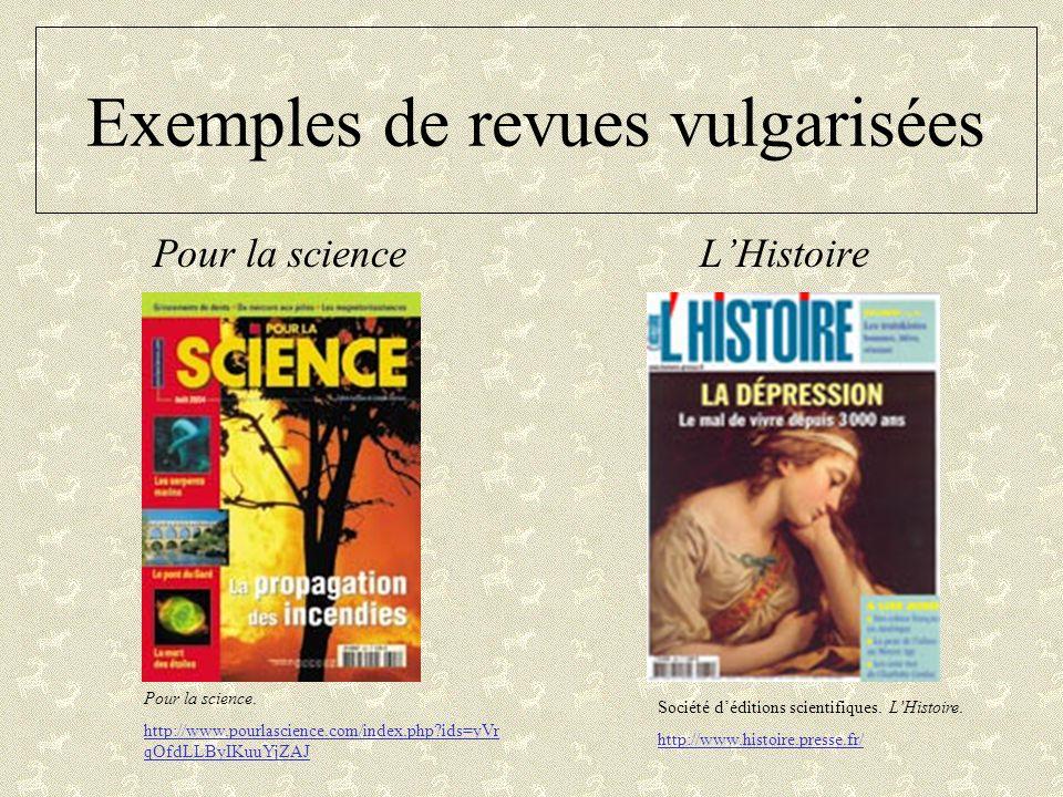 Exemples de revues vulgarisées