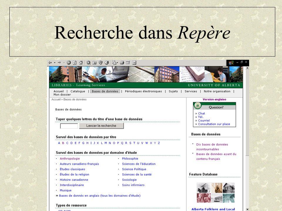 Recherche dans Repère Page d'accueil des bibliothèques
