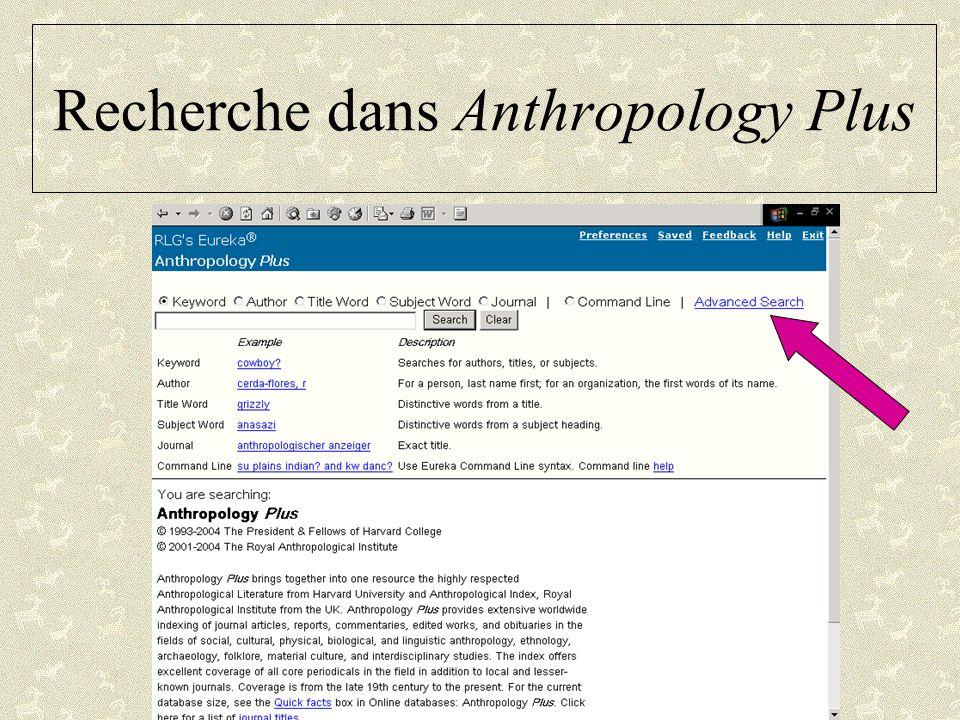Recherche dans Anthropology Plus