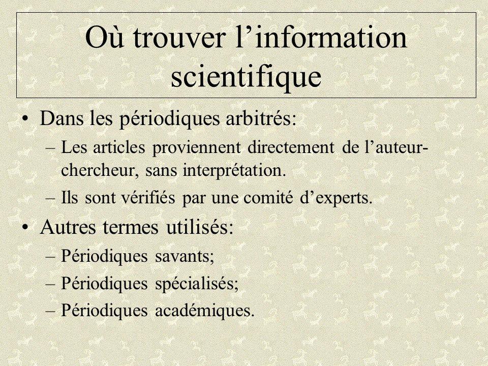 Où trouver l'information scientifique