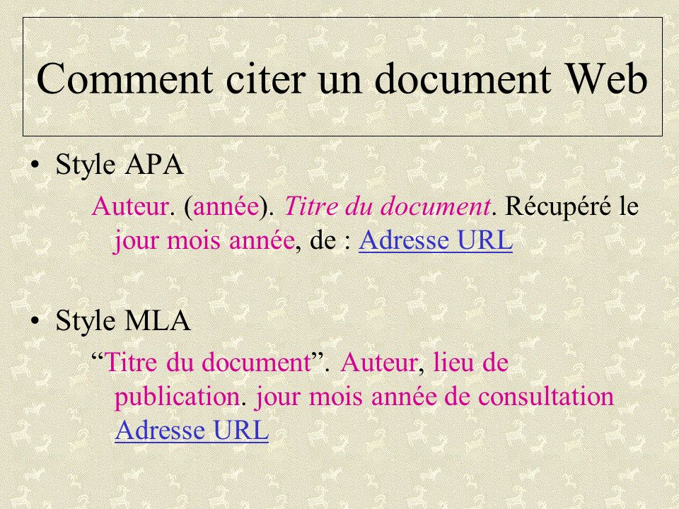Comment citer un document Web