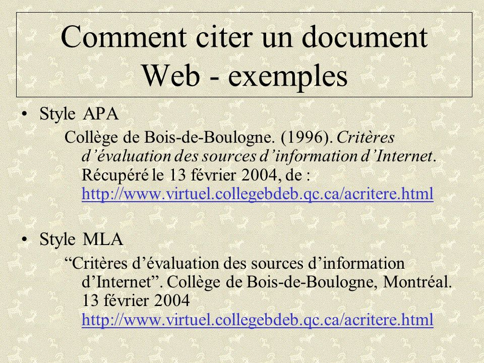 Comment citer un document Web - exemples