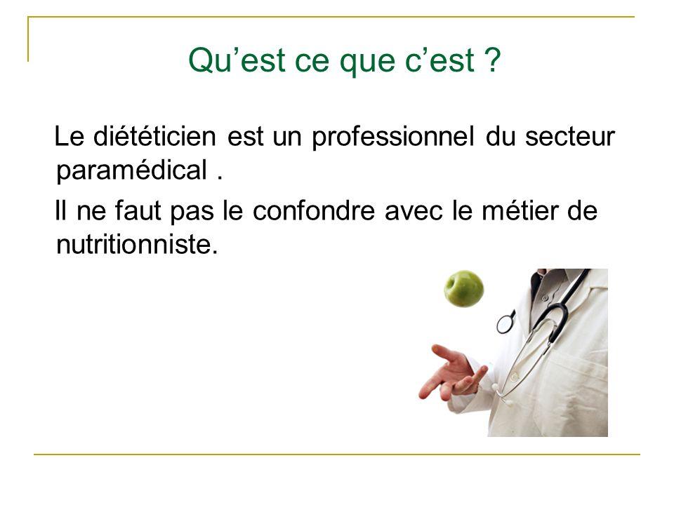 Qu'est ce que c'est . Le diététicien est un professionnel du secteur paramédical .
