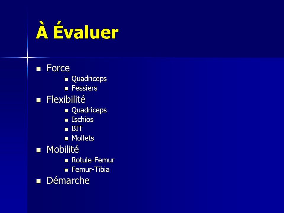 À Évaluer Force Flexibilité Mobilité Démarche Quadriceps Fessiers