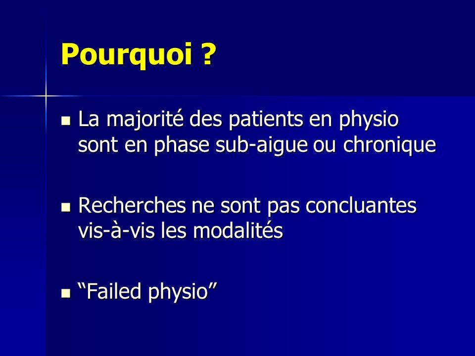 Pourquoi La majorité des patients en physio sont en phase sub-aigue ou chronique. Recherches ne sont pas concluantes vis-à-vis les modalités.