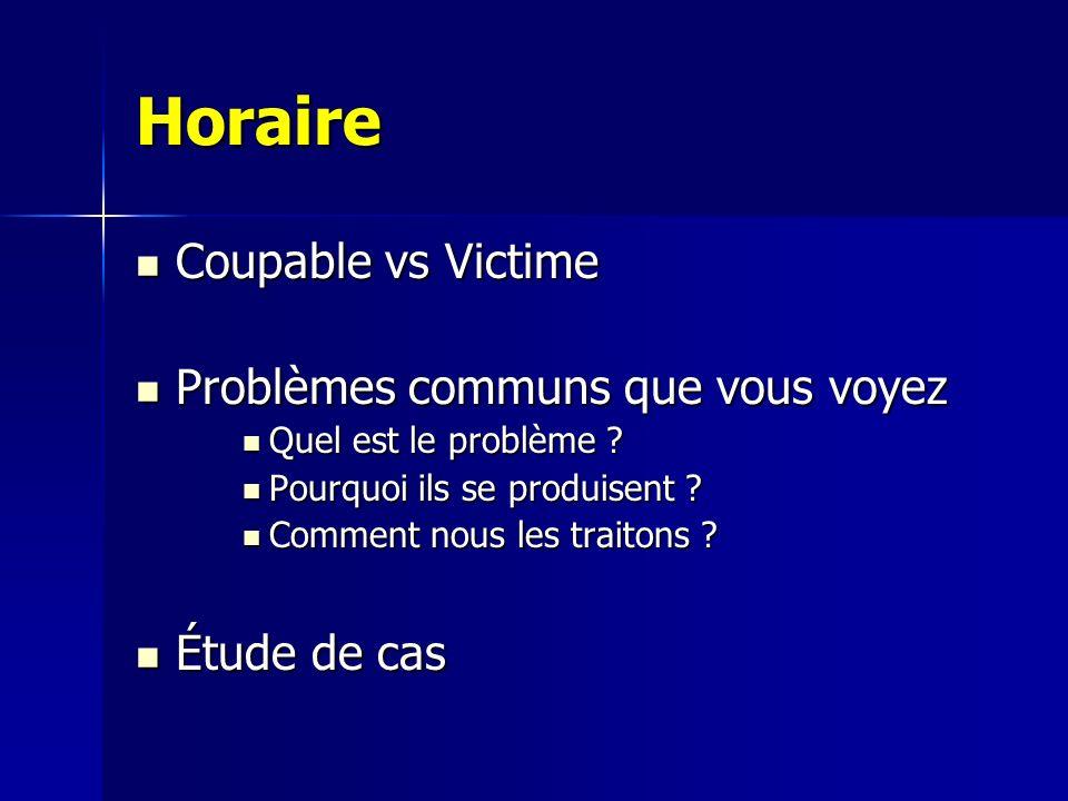 Horaire Coupable vs Victime Problèmes communs que vous voyez