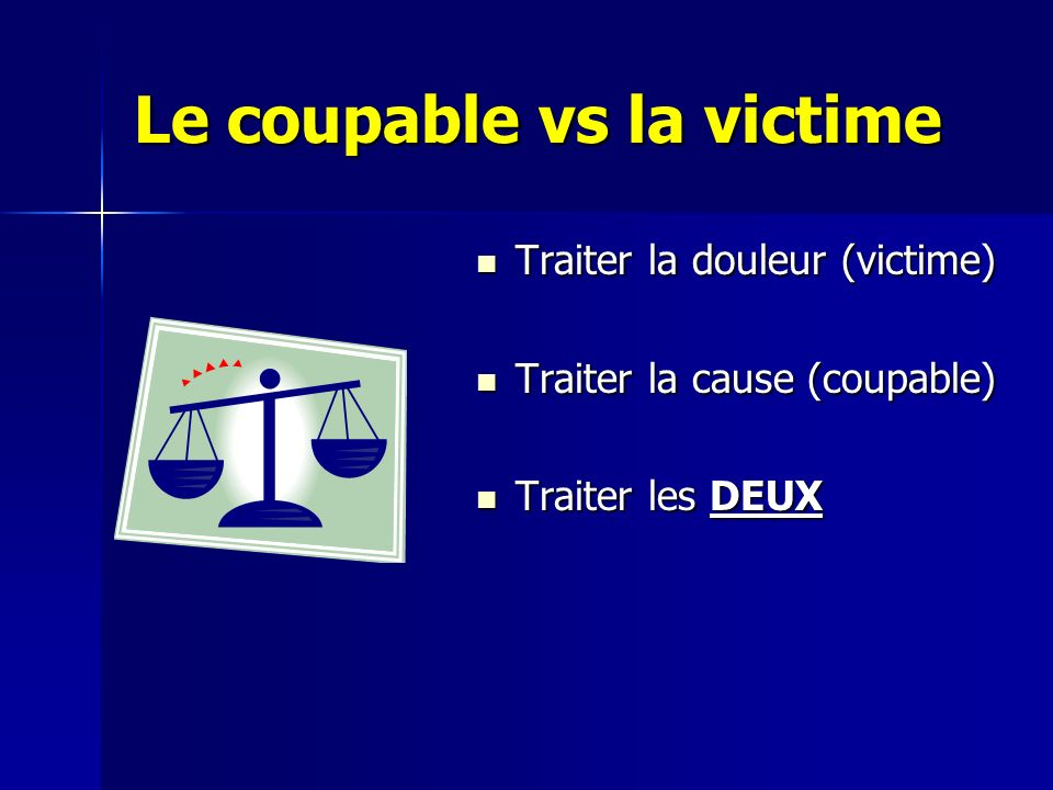 Le coupable vs la victime