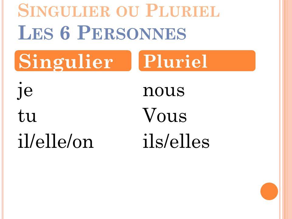 Singulier ou Pluriel Les 6 Personnes