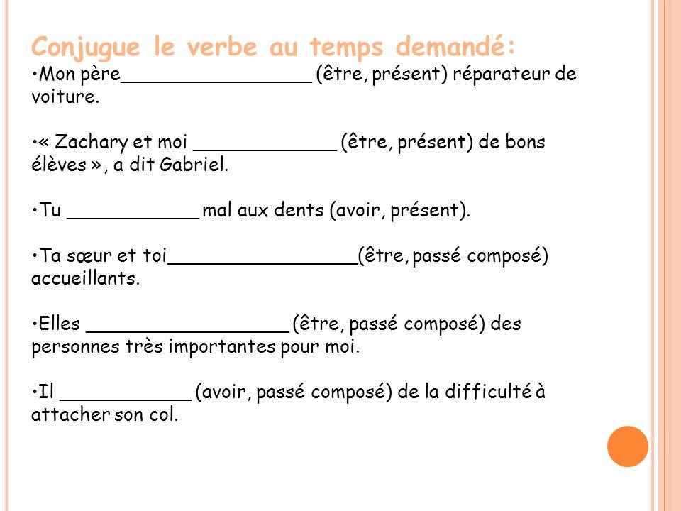 Conjugue le verbe au temps demandé: