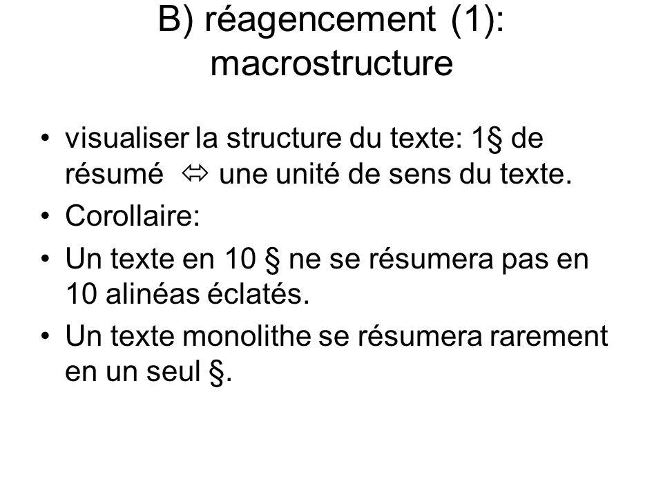 B) réagencement (1): macrostructure