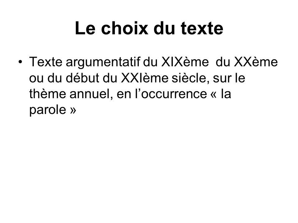 Le choix du texte Texte argumentatif du XIXème du XXème ou du début du XXIème siècle, sur le thème annuel, en l'occurrence « la parole »