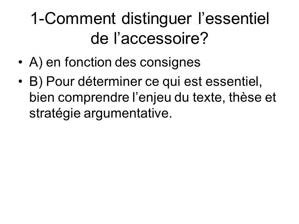 1-Comment distinguer l'essentiel de l'accessoire