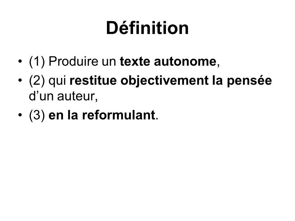 Définition (1) Produire un texte autonome,