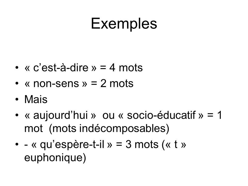 Exemples « c'est-à-dire » = 4 mots « non-sens » = 2 mots Mais
