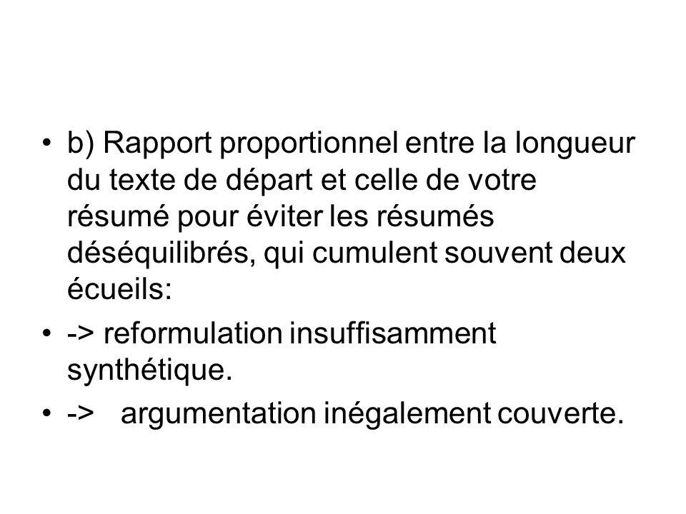 b) Rapport proportionnel entre la longueur du texte de départ et celle de votre résumé pour éviter les résumés déséquilibrés, qui cumulent souvent deux écueils: