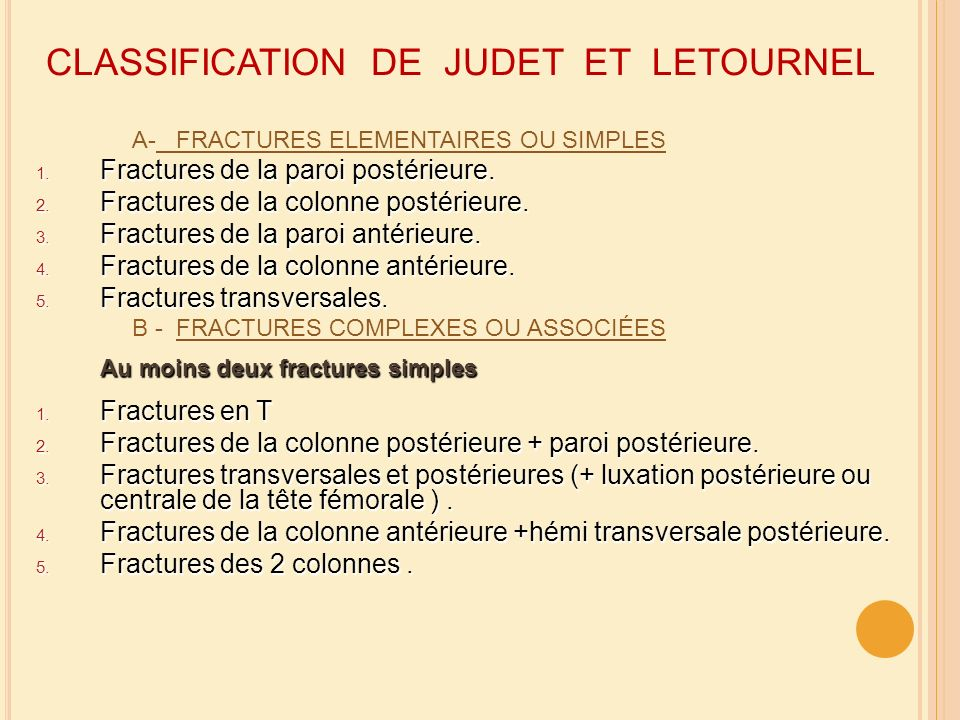 CLASSIFICATION DE JUDET ET LETOURNEL