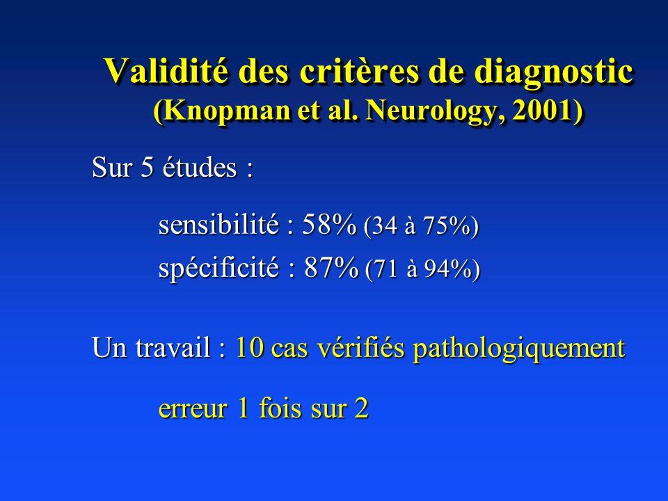 Validité des critères de diagnostic (Knopman et al. Neurology, 2001)