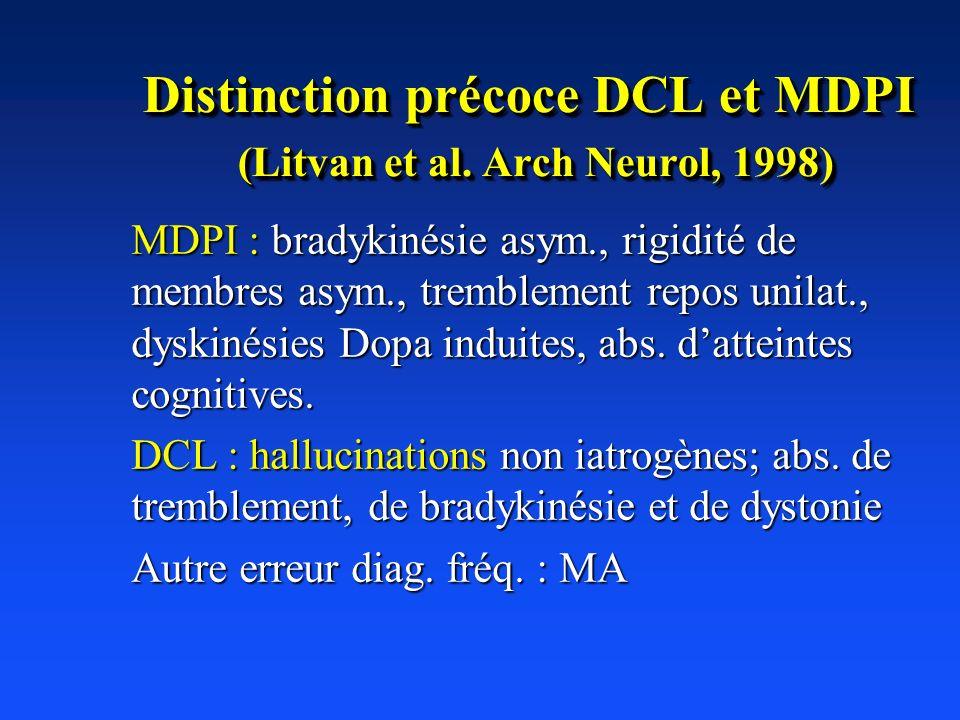 Distinction précoce DCL et MDPI (Litvan et al. Arch Neurol, 1998)