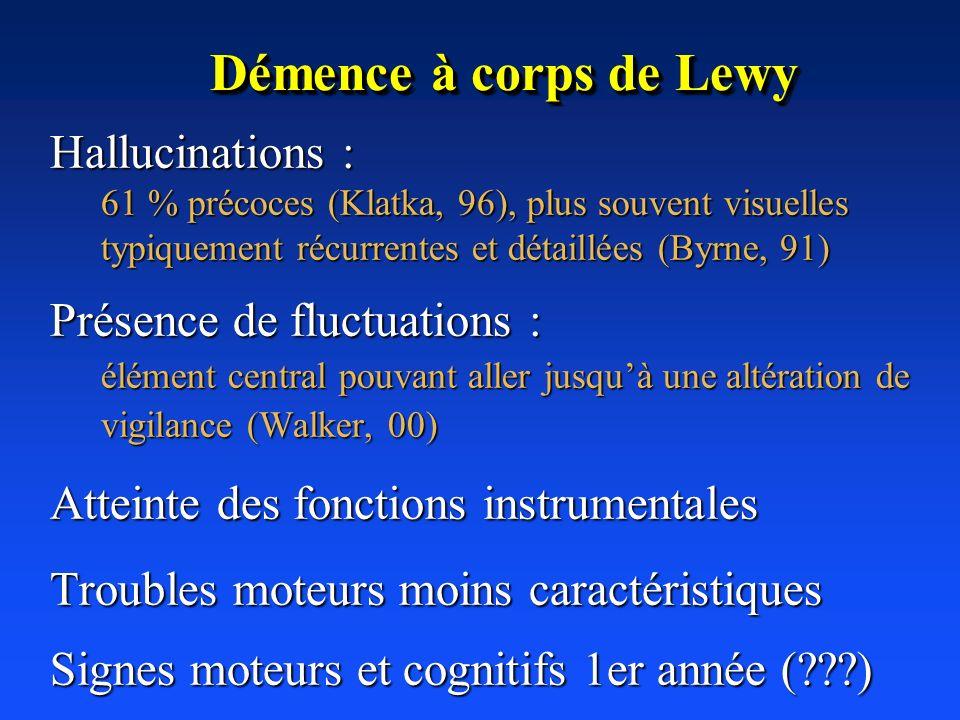 Démence à corps de Lewy Hallucinations : Présence de fluctuations :