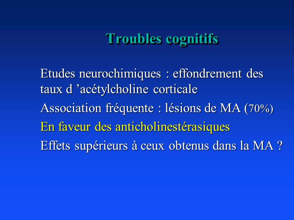 Troubles cognitifs Etudes neurochimiques : effondrement des taux d 'acétylcholine corticale. Association fréquente : lésions de MA (70%)