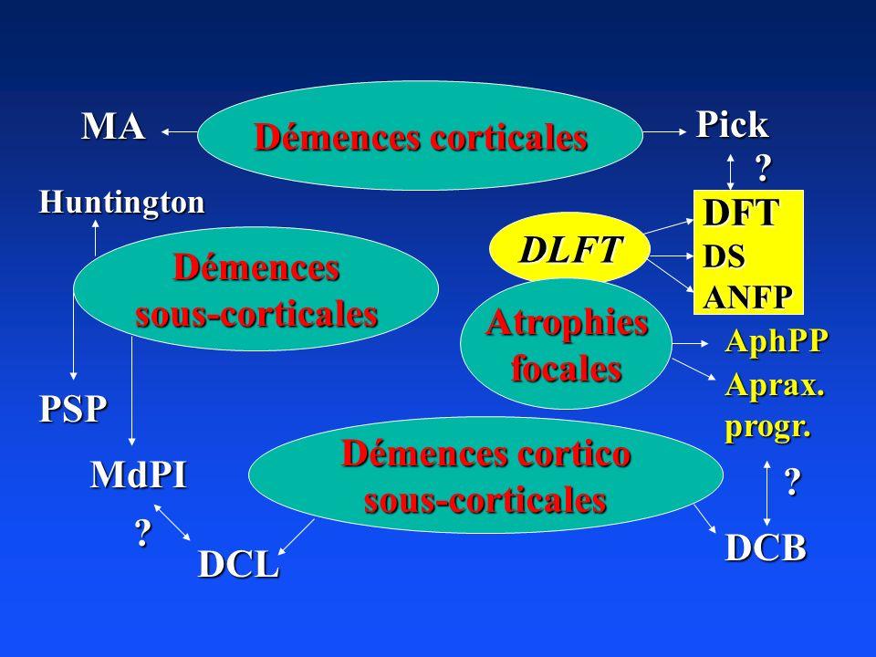 Démences corticales MA Pick DFT DLFT Démences sous-corticales