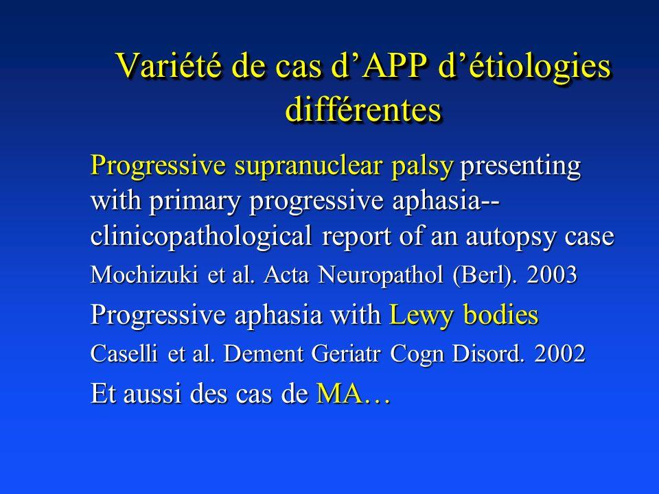 Variété de cas d'APP d'étiologies différentes
