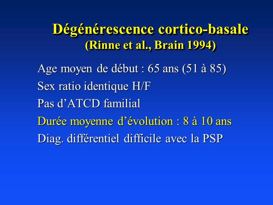 Dégénérescence cortico-basale (Rinne et al., Brain 1994)