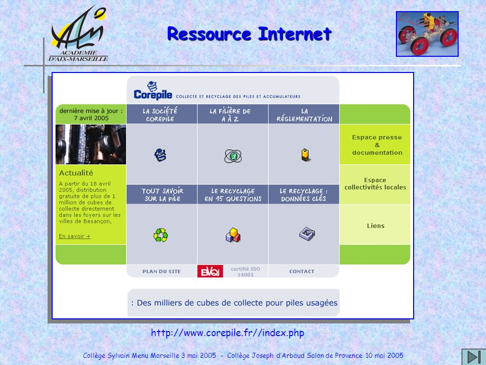 Ressource Internet http://www.corepile.fr//index.php