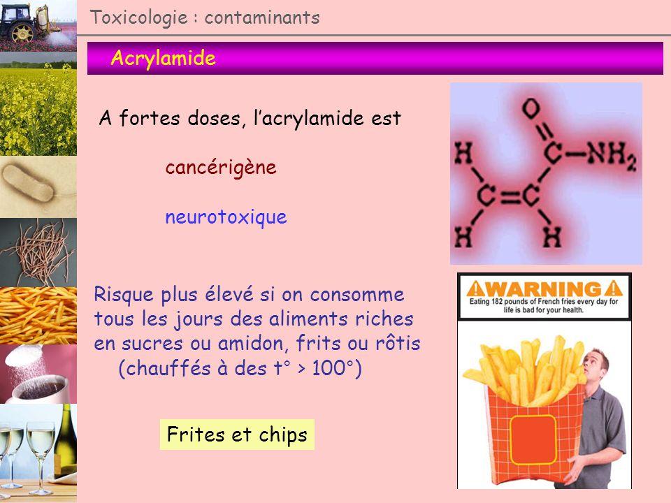 A fortes doses, l'acrylamide est cancérigène neurotoxique