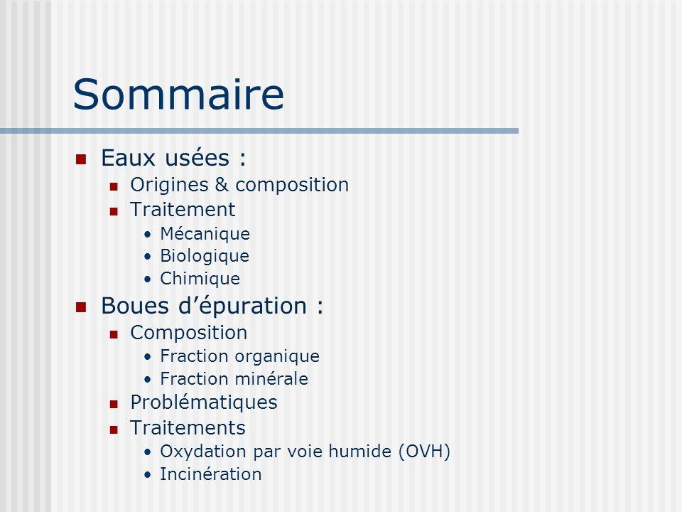 Sommaire Eaux usées : Boues d'épuration : Origines & composition