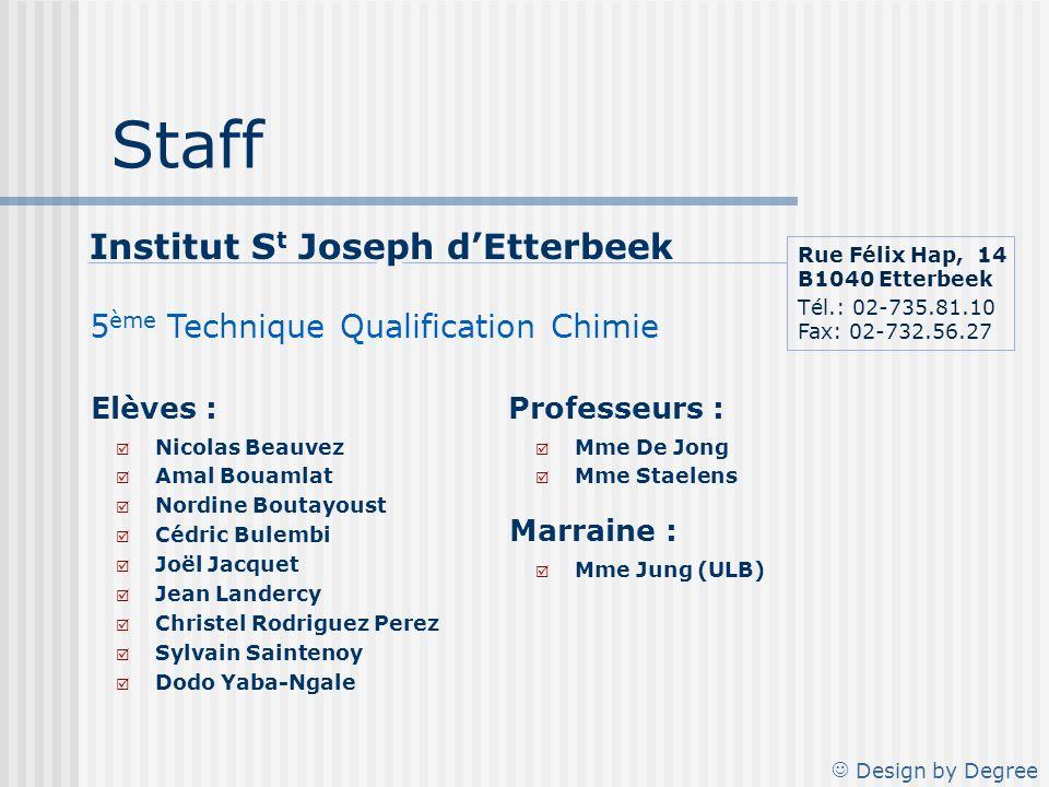 Staff Institut St Joseph d'Etterbeek