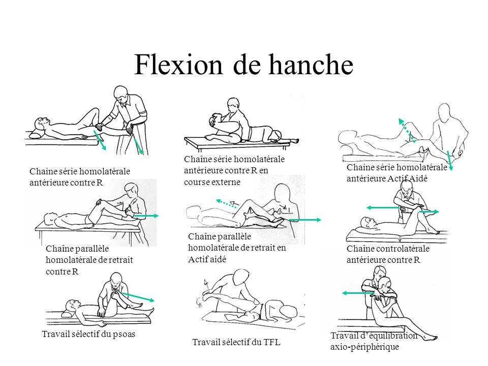 Flexion de hanche Chaîne série homolatérale antérieure contre R en course externe. Chaine série homolatérale antérieure Actif Aidé.