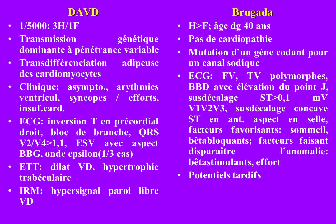 DAVD 1/5000; 3H/1F. Transmission génétique dominante à pénétrance variable. Transdifférenciation adipeuse des cardiomyocytes.