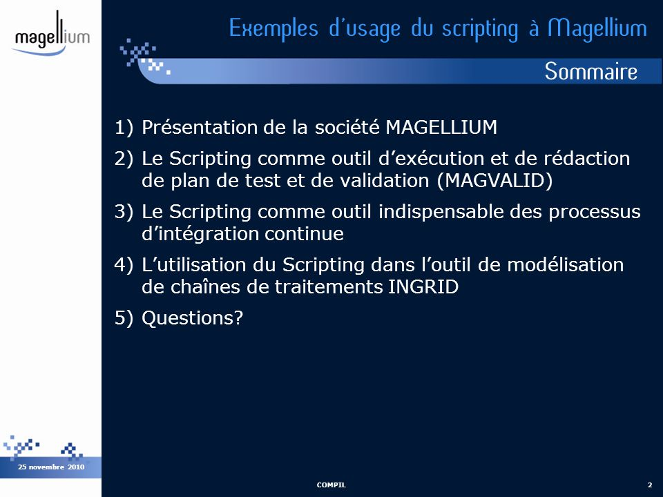 Exemples d'usage du scripting à Magellium