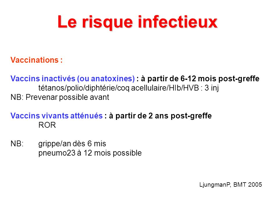 Le risque infectieux Vaccinations :