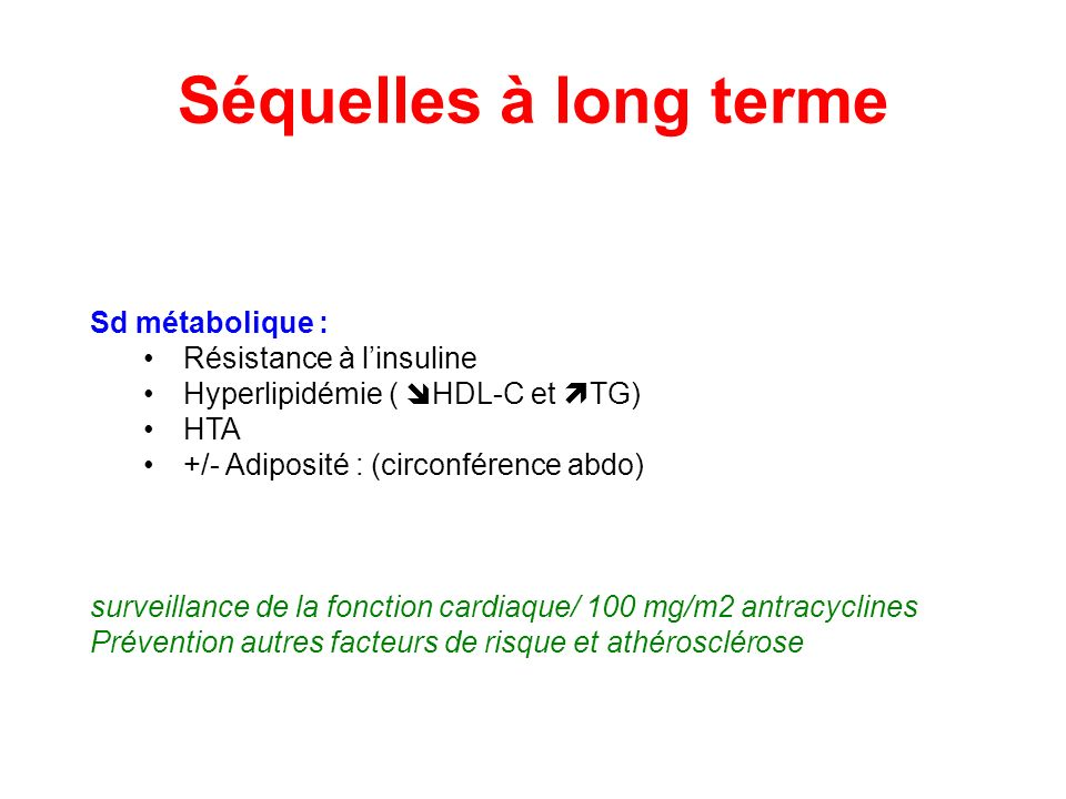 Séquelles à long terme Sd métabolique : Résistance à l'insuline