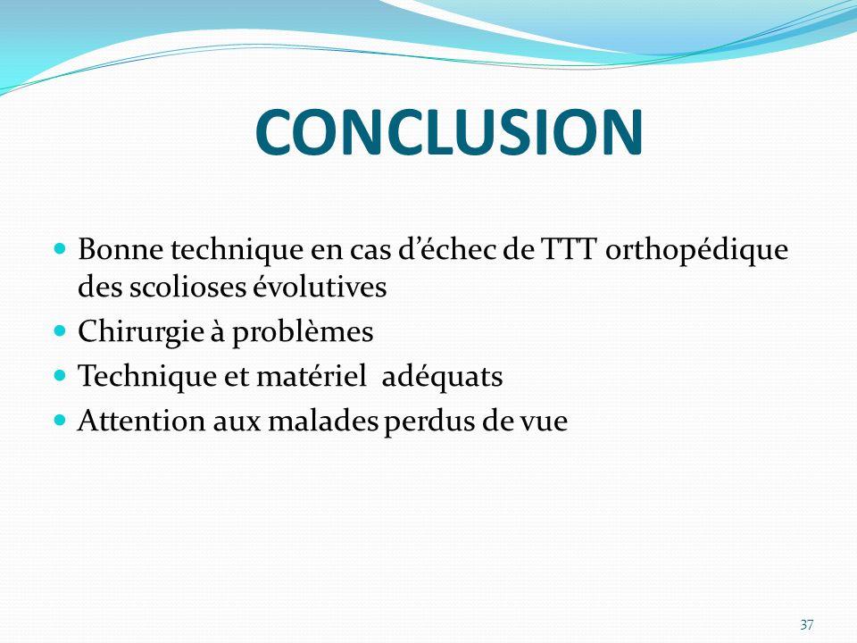 CONCLUSION Bonne technique en cas d'échec de TTT orthopédique des scolioses évolutives. Chirurgie à problèmes.