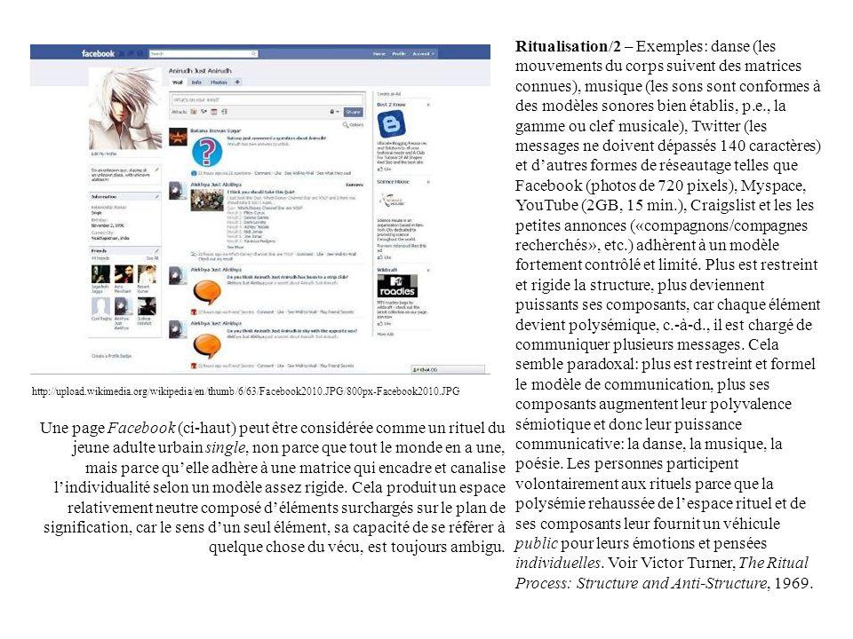 Ritualisation/2 – Exemples: danse (les mouvements du corps suivent des matrices connues), musique (les sons sont conformes à des modèles sonores bien établis, p.e., la gamme ou clef musicale), Twitter (les messages ne doivent dépassés 140 caractères) et d'autres formes de réseautage telles que Facebook (photos de 720 pixels), Myspace, YouTube (2GB, 15 min.), Craigslist et les les petites annonces («compagnons/compagnes recherchés», etc.) adhèrent à un modèle fortement contrôlé et limité. Plus est restreint et rigide la structure, plus deviennent puissants ses composants, car chaque élément devient polysémique, c.-à-d., il est chargé de communiquer plusieurs messages. Cela semble paradoxal: plus est restreint et formel le modèle de communication, plus ses composants augmentent leur polyvalence sémiotique et donc leur puissance communicative: la danse, la musique, la poésie. Les personnes participent volontairement aux rituels parce que la polysémie rehaussée de l'espace rituel et de ses composants leur fournit un véhicule public pour leurs émotions et pensées individuelles. Voir Victor Turner, The Ritual Process: Structure and Anti-Structure, 1969.