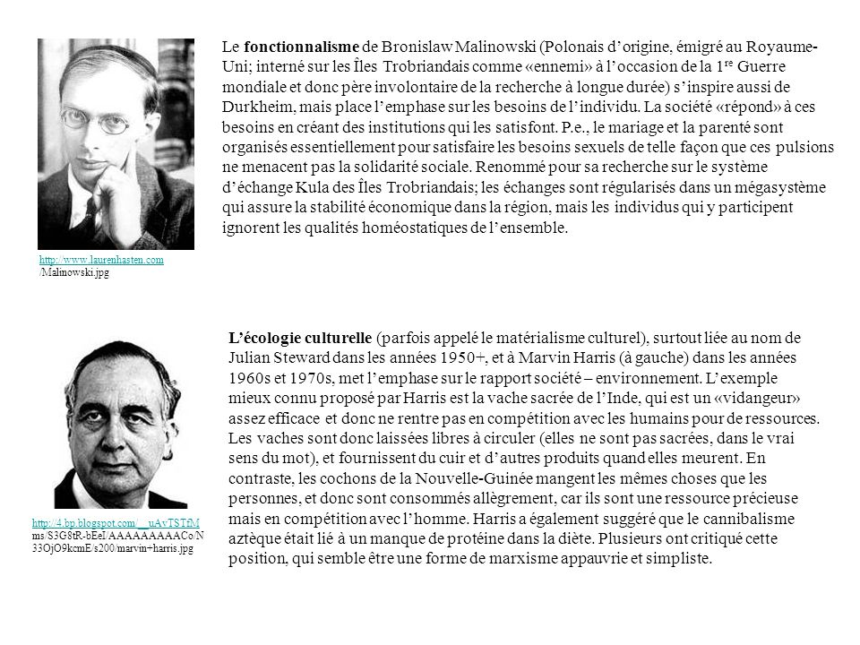 Le fonctionnalisme de Bronislaw Malinowski (Polonais d'origine, émigré au Royaume-Uni; interné sur les Îles Trobriandais comme «ennemi» à l'occasion de la 1re Guerre mondiale et donc père involontaire de la recherche à longue durée) s'inspire aussi de Durkheim, mais place l'emphase sur les besoins de l'individu. La société «répond» à ces besoins en créant des institutions qui les satisfont. P.e., le mariage et la parenté sont organisés essentiellement pour satisfaire les besoins sexuels de telle façon que ces pulsions ne menacent pas la solidarité sociale. Renommé pour sa recherche sur le système d'échange Kula des Îles Trobriandais; les échanges sont régularisés dans un mégasystème qui assure la stabilité économique dans la région, mais les individus qui y participent ignorent les qualités homéostatiques de l'ensemble.