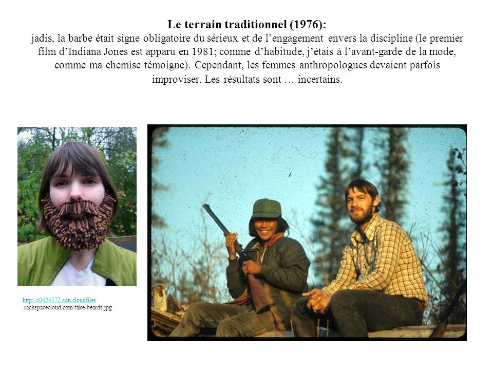 Le terrain traditionnel (1976): jadis, la barbe était signe obligatoire du sérieux et de l'engagement envers la discipline (le premier film d'Indiana Jones est apparu en 1981; comme d'habitude, j'étais à l'avant-garde de la mode, comme ma chemise témoigne). Cependant, les femmes anthropologues devaient parfois improviser. Les résultats sont … incertains.